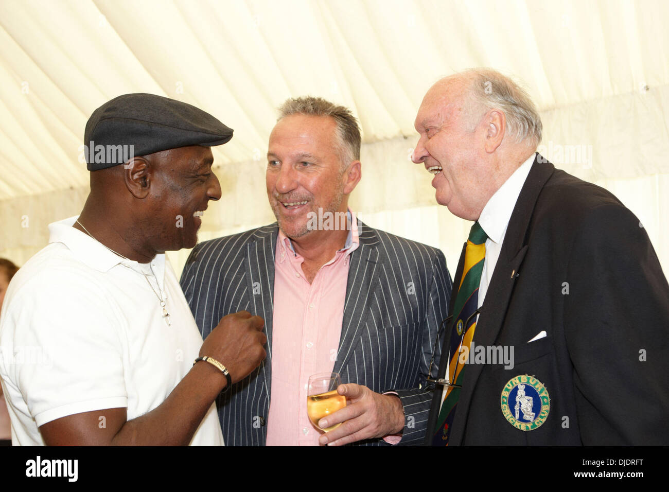 Sir Viv Richards and Sir Ian Botham with after dinner speaker Roger Dakin Bunbury charity cricket match supporting cancer charity 'Hope For Tomorrow' Bath, England - 03.06.12 - Stock Image