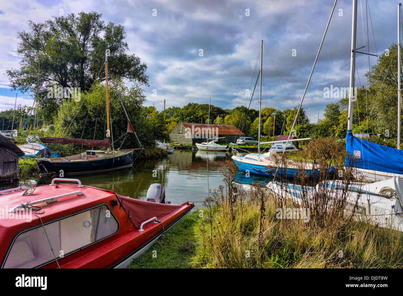 Hickling parish moorings, Norfolk Broads - Stock Image