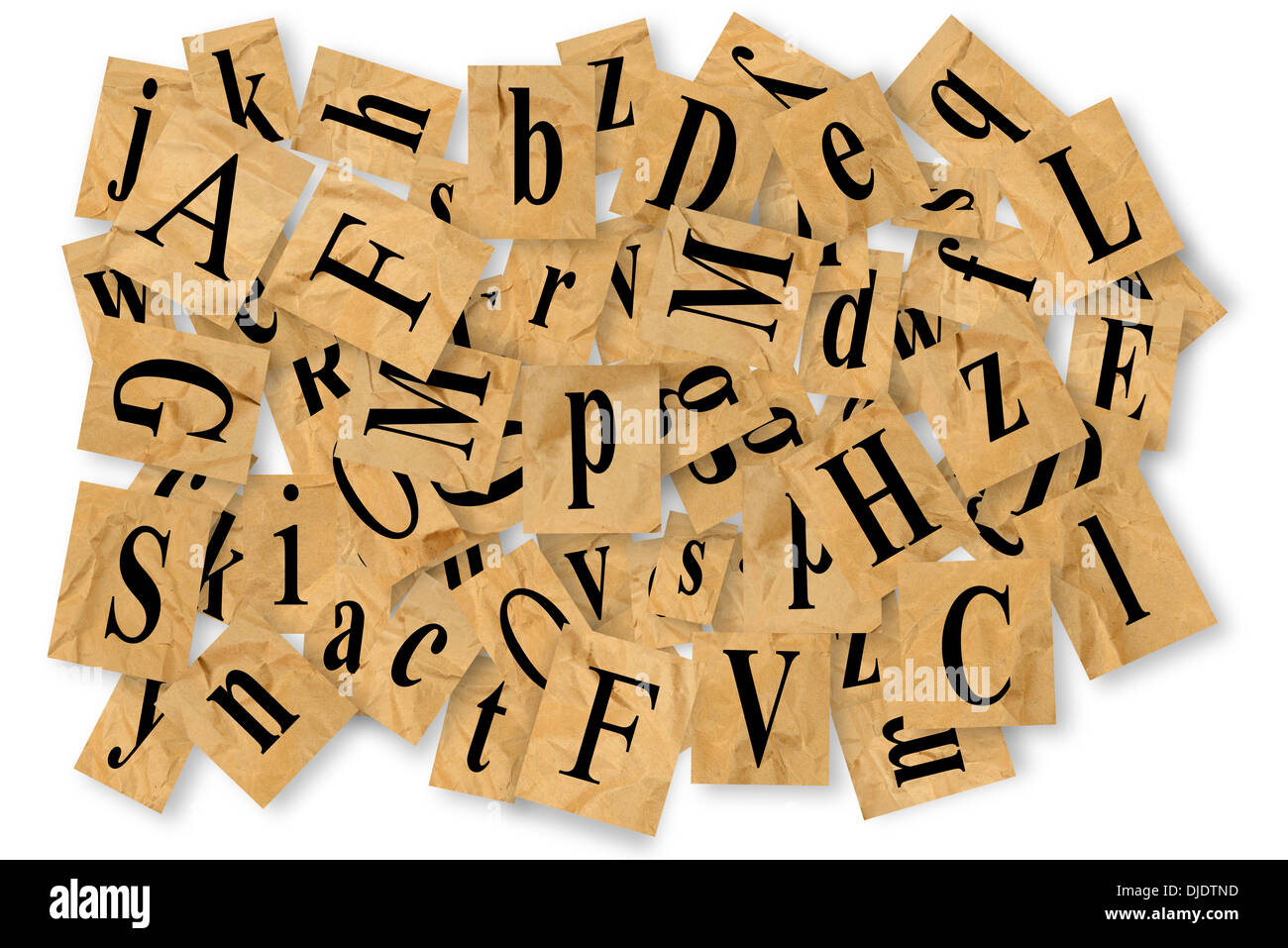 Letters cut out of newspaper on white background stock photo letters cut out of newspaper on white background spiritdancerdesigns Gallery