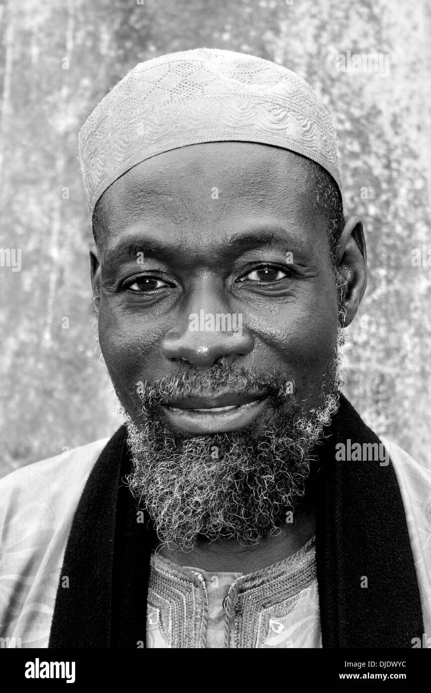 Black And White Portrait Of The Imam of Maluwe Mosque, Ghana - Stock Image