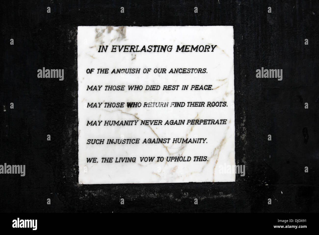 Plaque 'In Everlasting Memory' - Slave Castle, Ghana - Stock Image