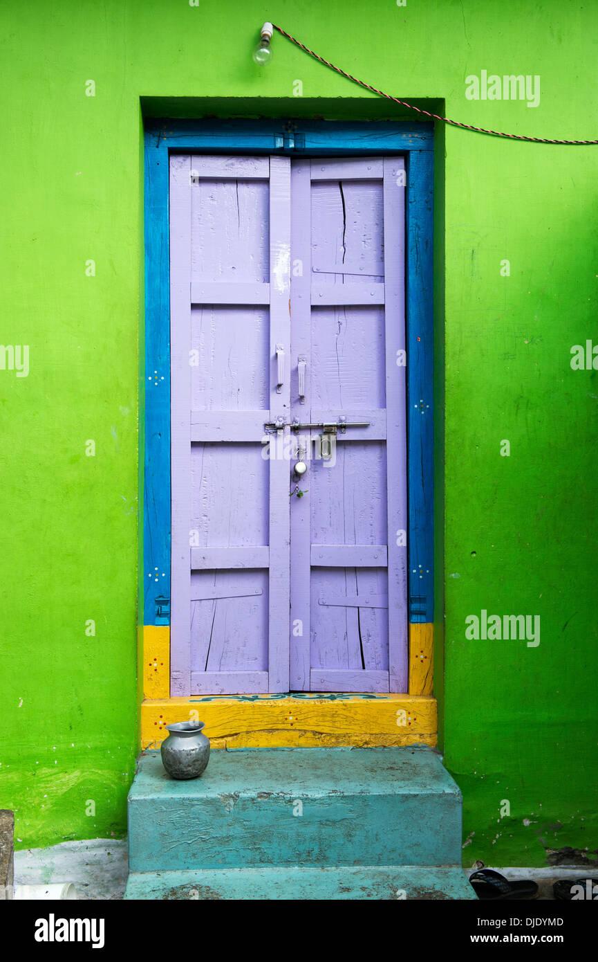Indian House Front Door Andhra Pradesh India Stock Photo