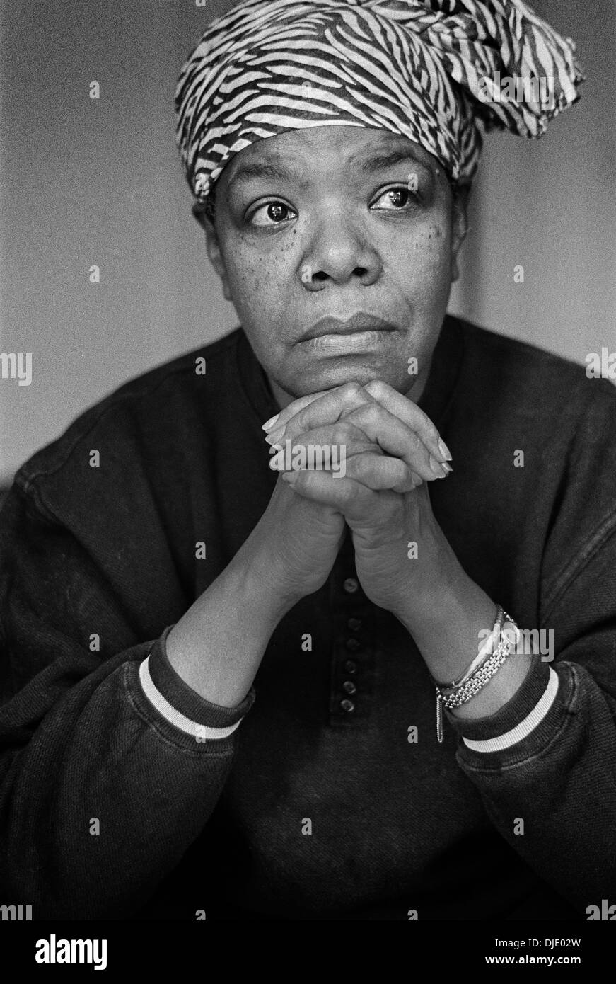Maya Angelou photographed in London at a friends house in 1998 - Stock Image