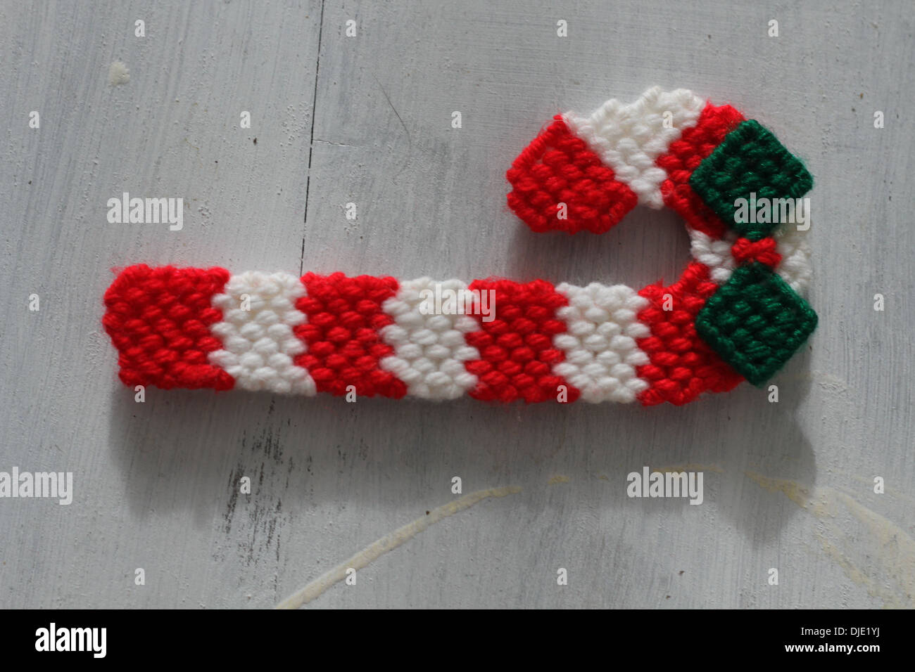 A Crochet Christmas Candy Cane Stock Photo 63003798 Alamy