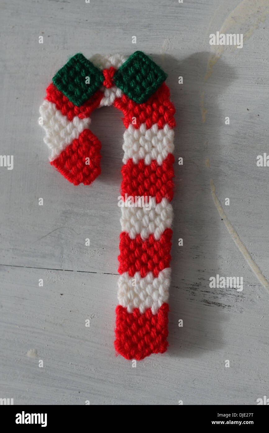 A Crochet Christmas Candy Cane Stock Photo 63004028 Alamy
