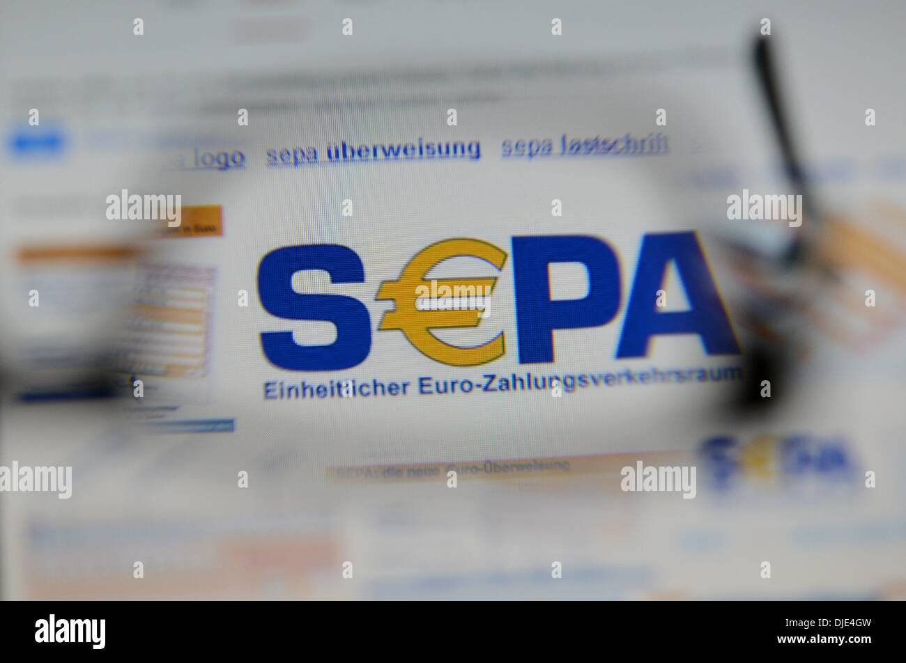 Osterode, Germany. 27th Nov, 2013. Illustration for Single Euro Payments Area (SEPA), which is a payment-integration initiative of the European Union for simplification of bank transfers denominated in euro, pictured in Osterode, Germany, 27 November 2013. Starting on 01 February 2014, the national account numbers are replaced by the IBAN number for national and international bank transfers as well as for direct debit. Photo: Frank May/dpa/Alamy Live News - Stock Image