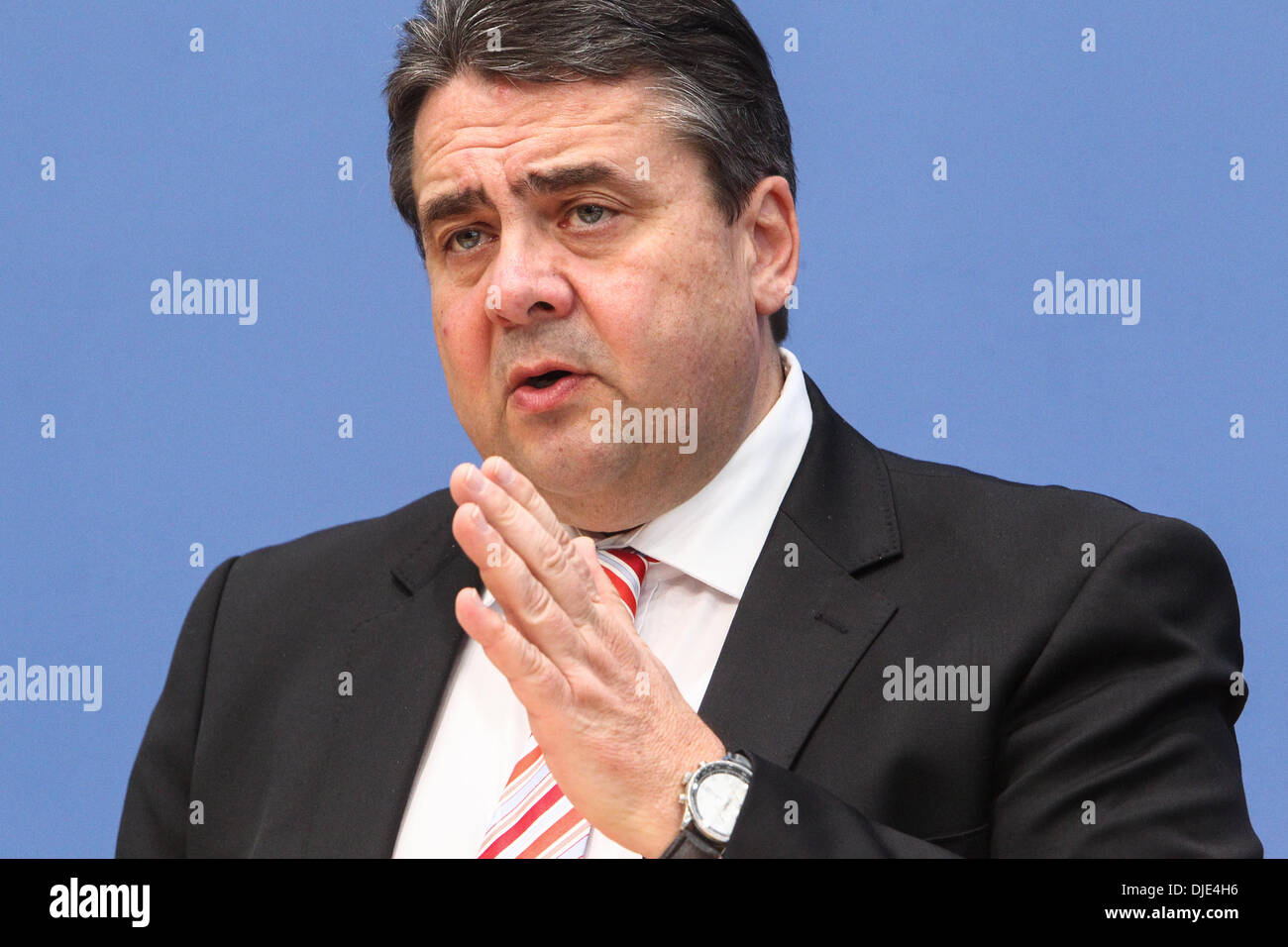 Berlin, Germany. 27th Nov, 2013. Sigmar Gabriel, Chairman of the Social Democratic Party (SPD) attends a press conference in Berlin, Germany, on Nov. 27, 2013. Leaders from Germany's main parties signed provisionally a coalition agreement on Wednesday, paving the road for forming a new government two months after a federal election. Credit:  Zhang Fan/Xinhua/Alamy Live News Stock Photo