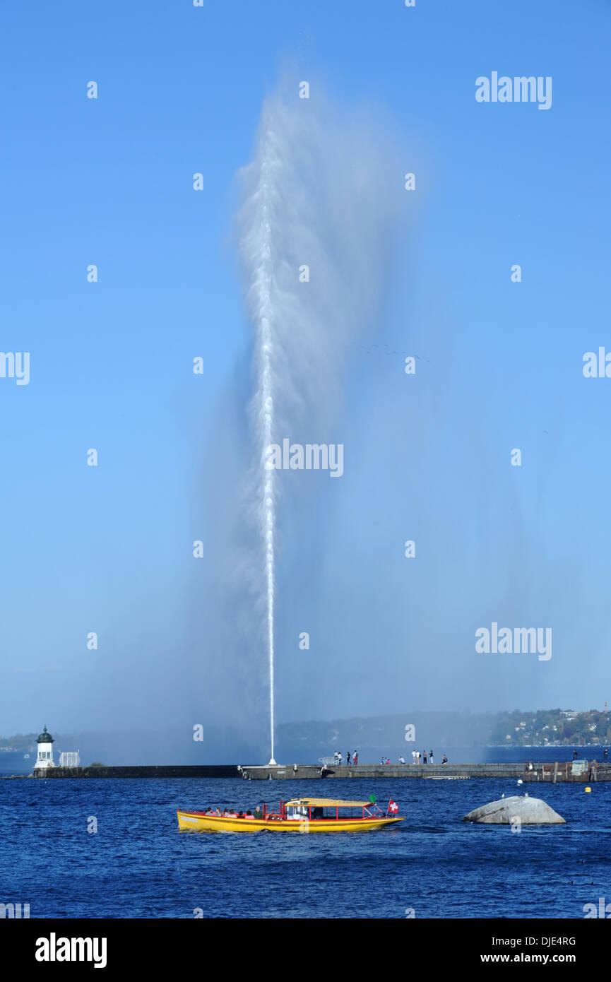 The water jet of lake Leman at Geneva on Switzerland - Stock Image