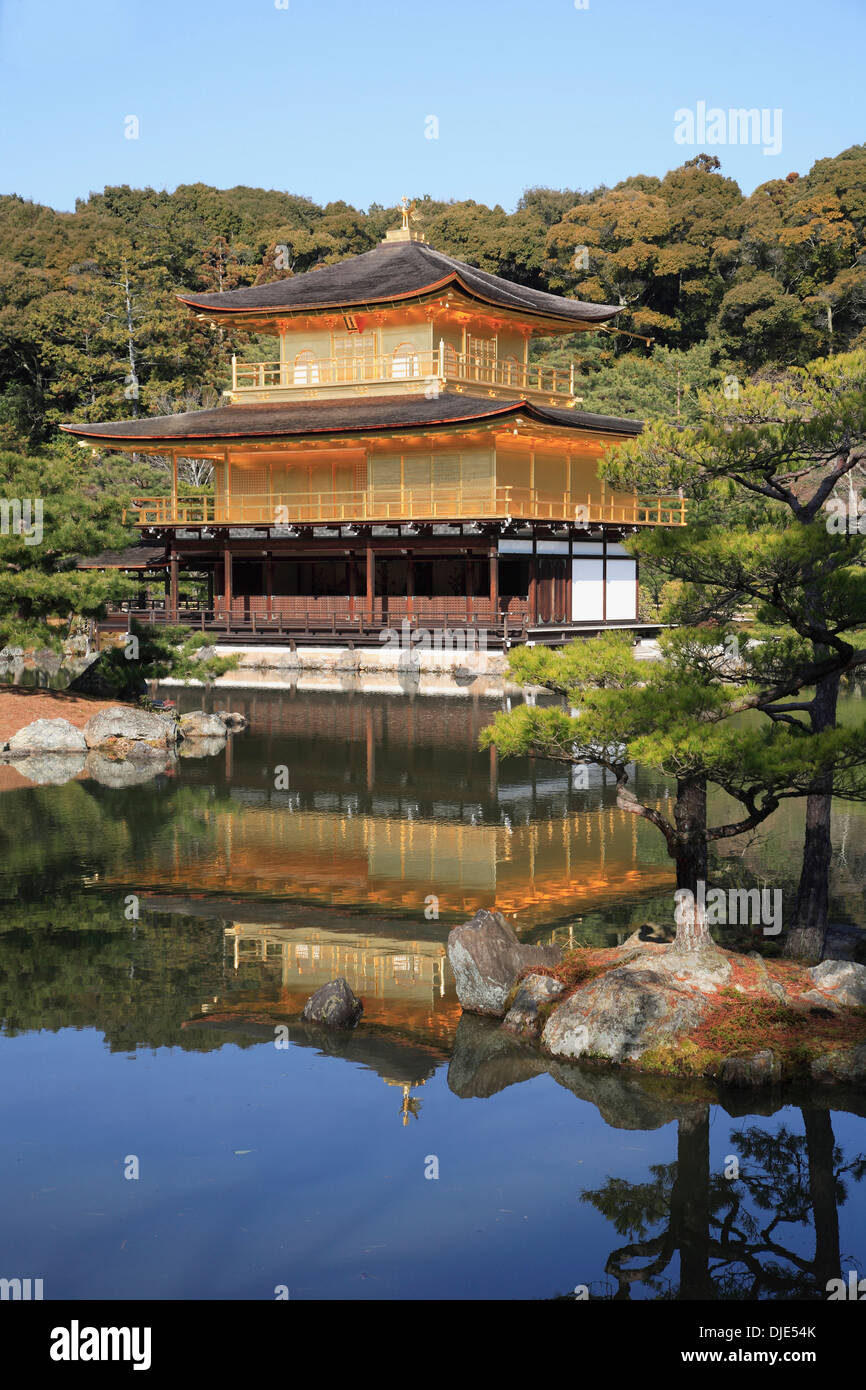 Japan, Kansai, Kyoto, Kinkakuji Temple, Golden Pavilion - Stock Image
