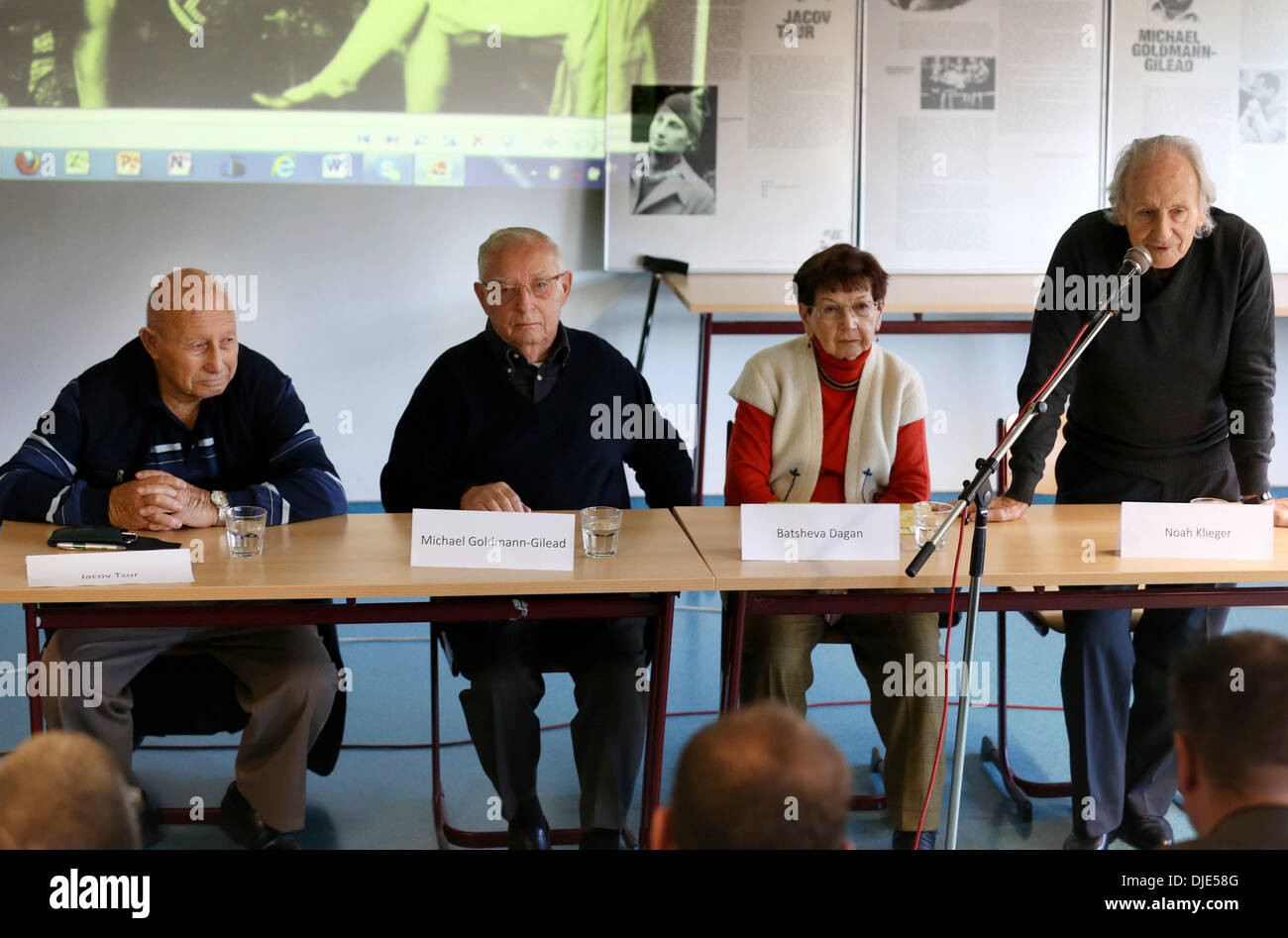 Roevershagen, Germany. 26th Nov, 2013. The four Holocaust survivors Noah Klieger (R-L), Batsheva Dagan, Michael Goldmann-Gilead and Jacov Tsur are guests in the Heidetreff in Roevershagen, Germany, 26 November 2013. They were invited to Germany by the project group 'War graves' of the European school Roevershagen and will speak about their memories. Photo: Bernd Wuestneck/dpa/Alamy Live News - Stock Image