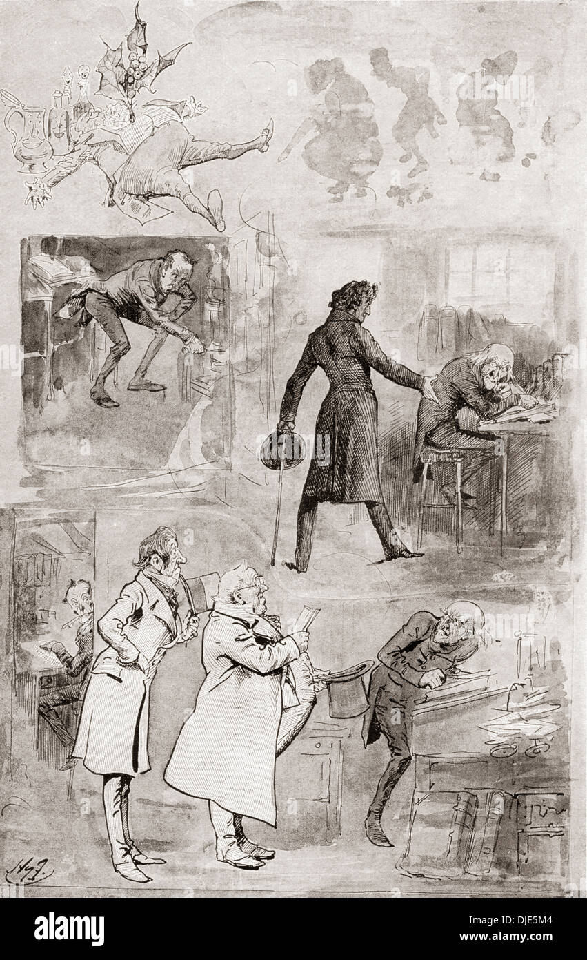 Scrooge Objects to Christmas. Illustration by Harry Furniss for the novella A Christmas Carol by Charles Dickens. - Stock Image