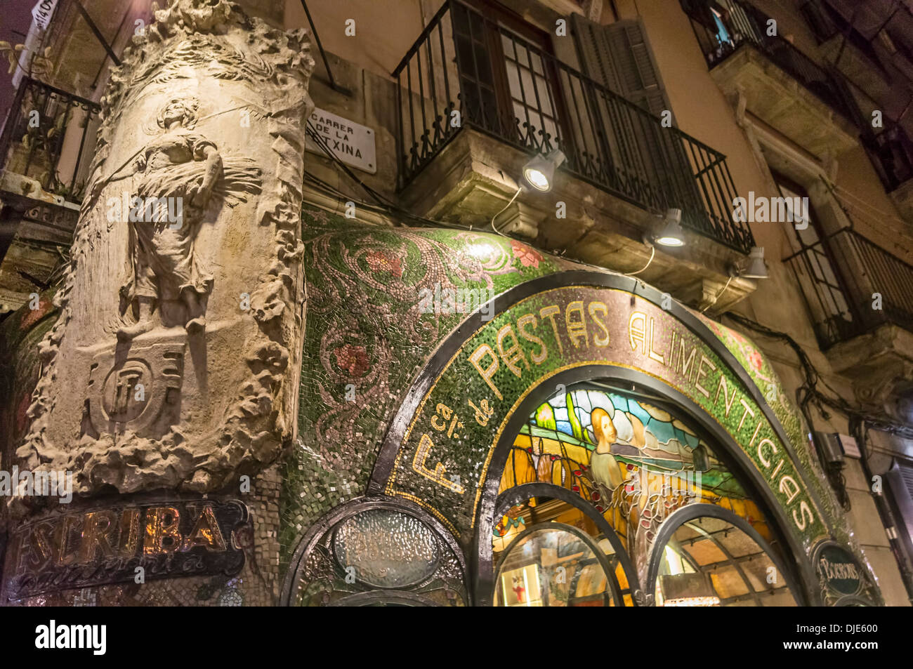 Pasteleria Escriba, Pastry Shop, Art Deco, Ramblas, Barcelona, Catalonia, Spain, - Stock Image