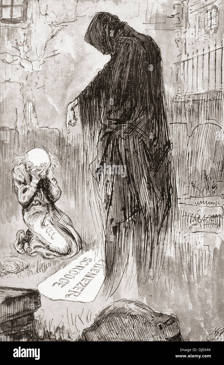 A Christmas Carol Spirits.The Last Of The Spirits Illustration By Harry Furniss For
