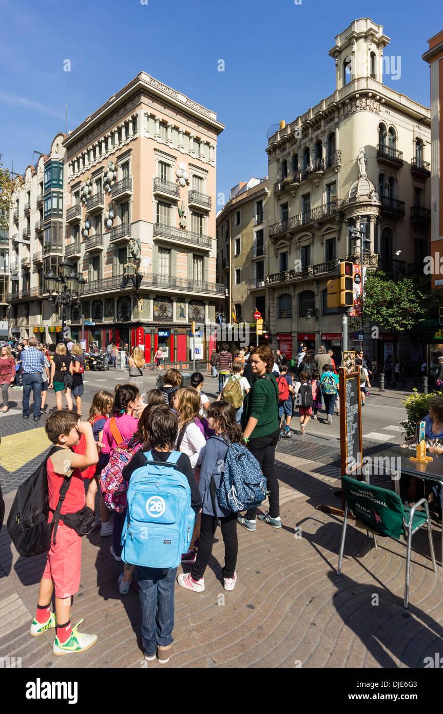 The Ramblas, school class, Modernisme buildings, Barcelona, Spain  Stock Photo