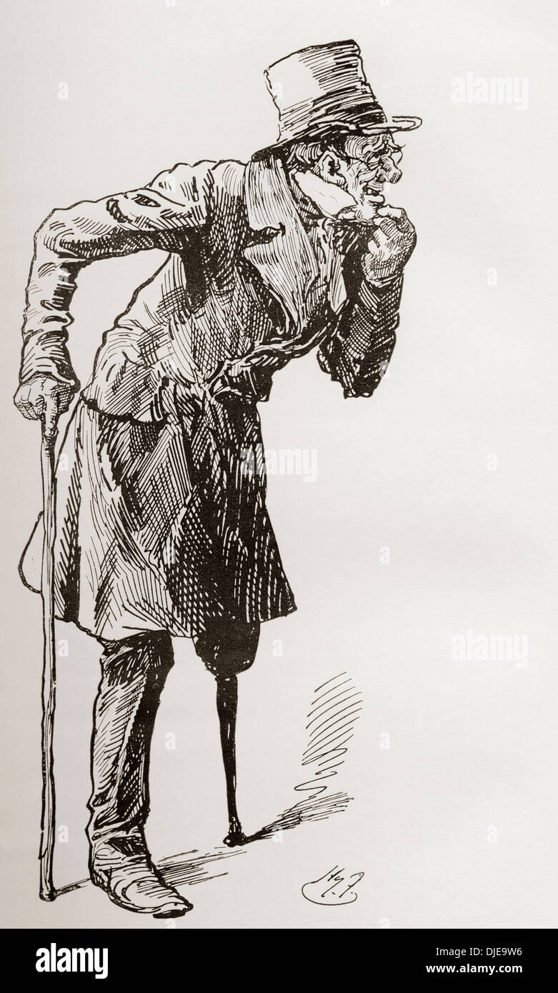 Silas Wegg on his Way to the Bower. Illustration by Harry Furniss for the Charles Dickens novel Our Mutual Friend. - Stock Image