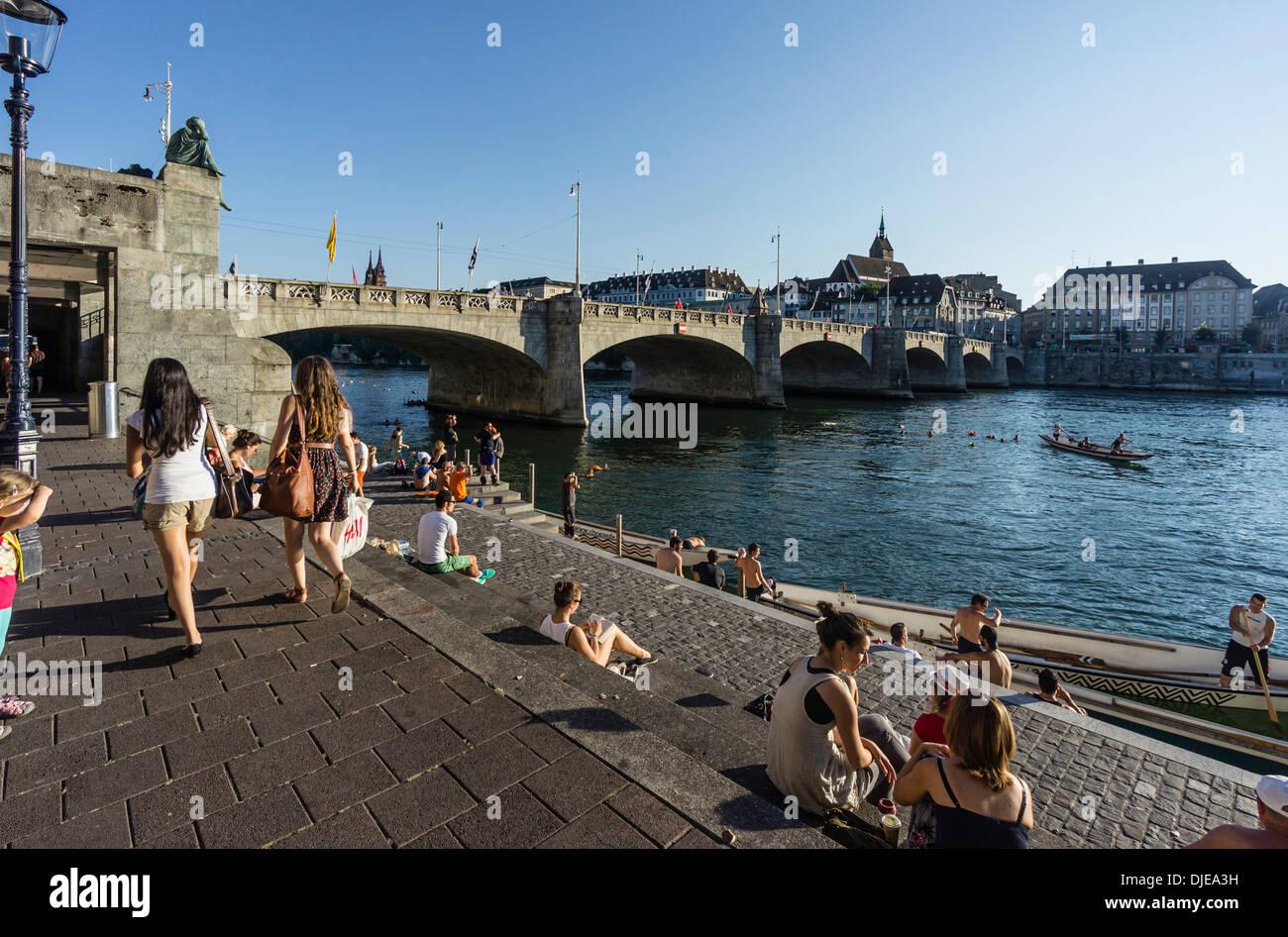 Rhine River in Summer, Middle Bridge, Basel, Switzerland - Stock Image