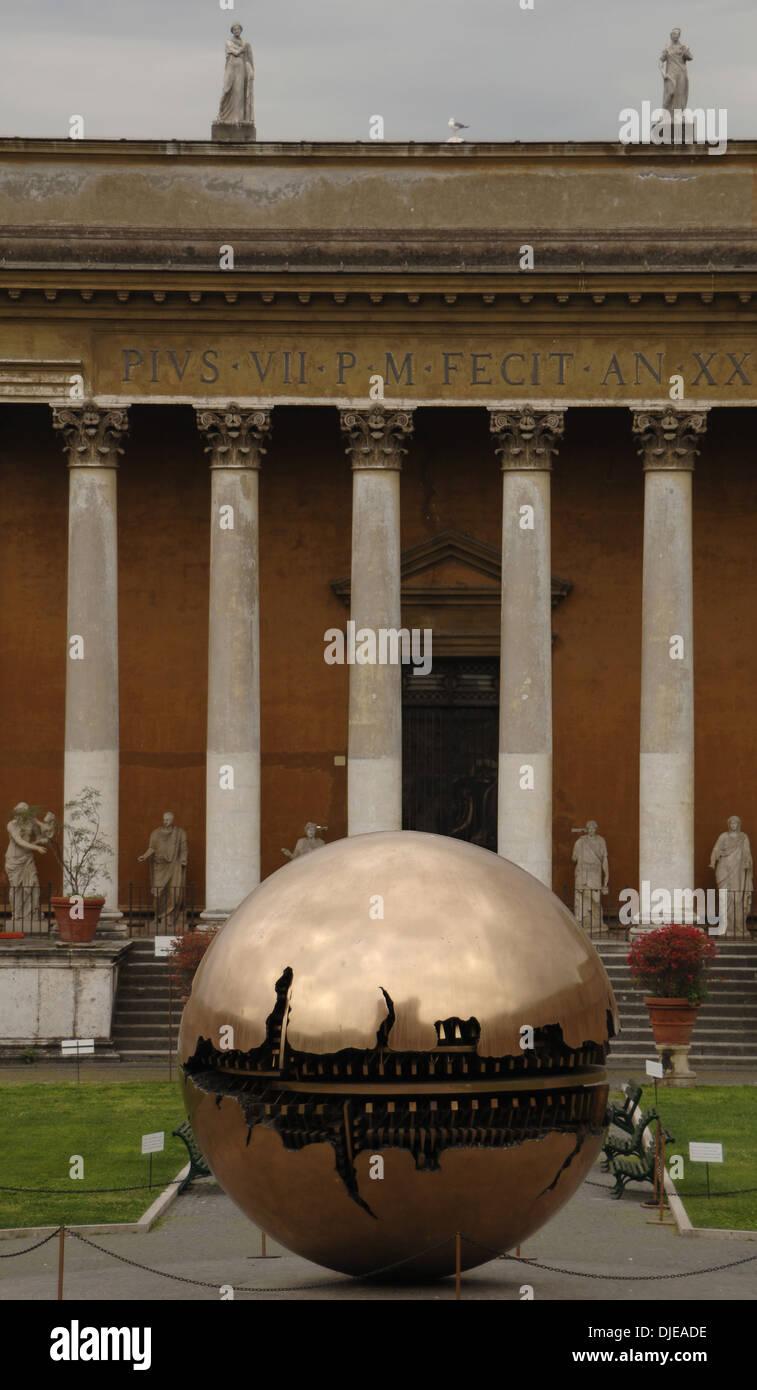 Sphere Within Sphere. Bronze sculpture by Italian sculptor Arnaldo Pomodoro (b. 1926). Cortile della Pigna. Vatican Museums. - Stock Image