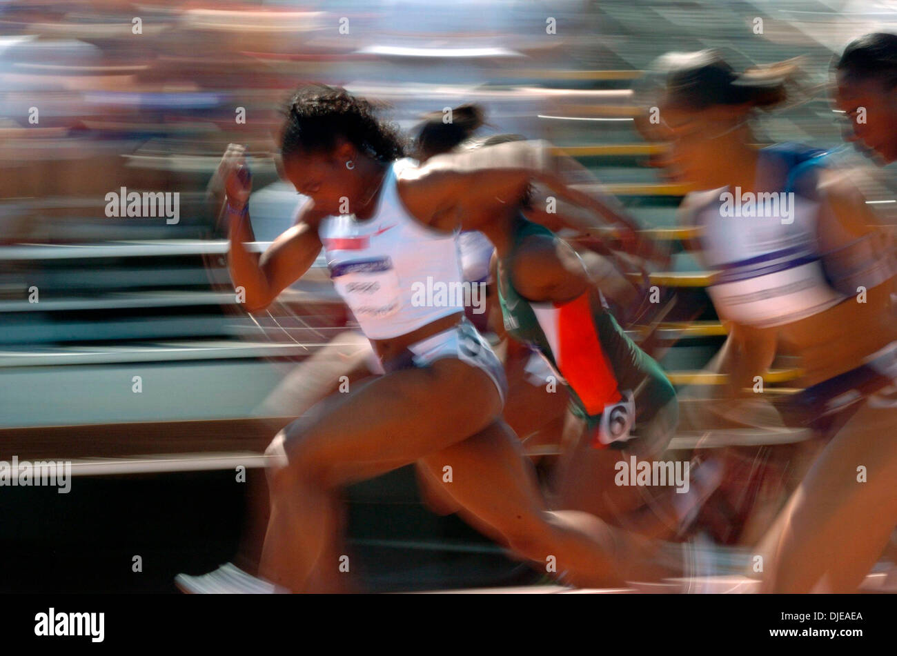 Jul 09, 2004; Sacramento, CA, USA; GAIL DEVERS powers away from the field in her 100 meter semi-final on day two of the 2004 U.S. Track and Field Trials at Hornet Stadium. - Stock Image