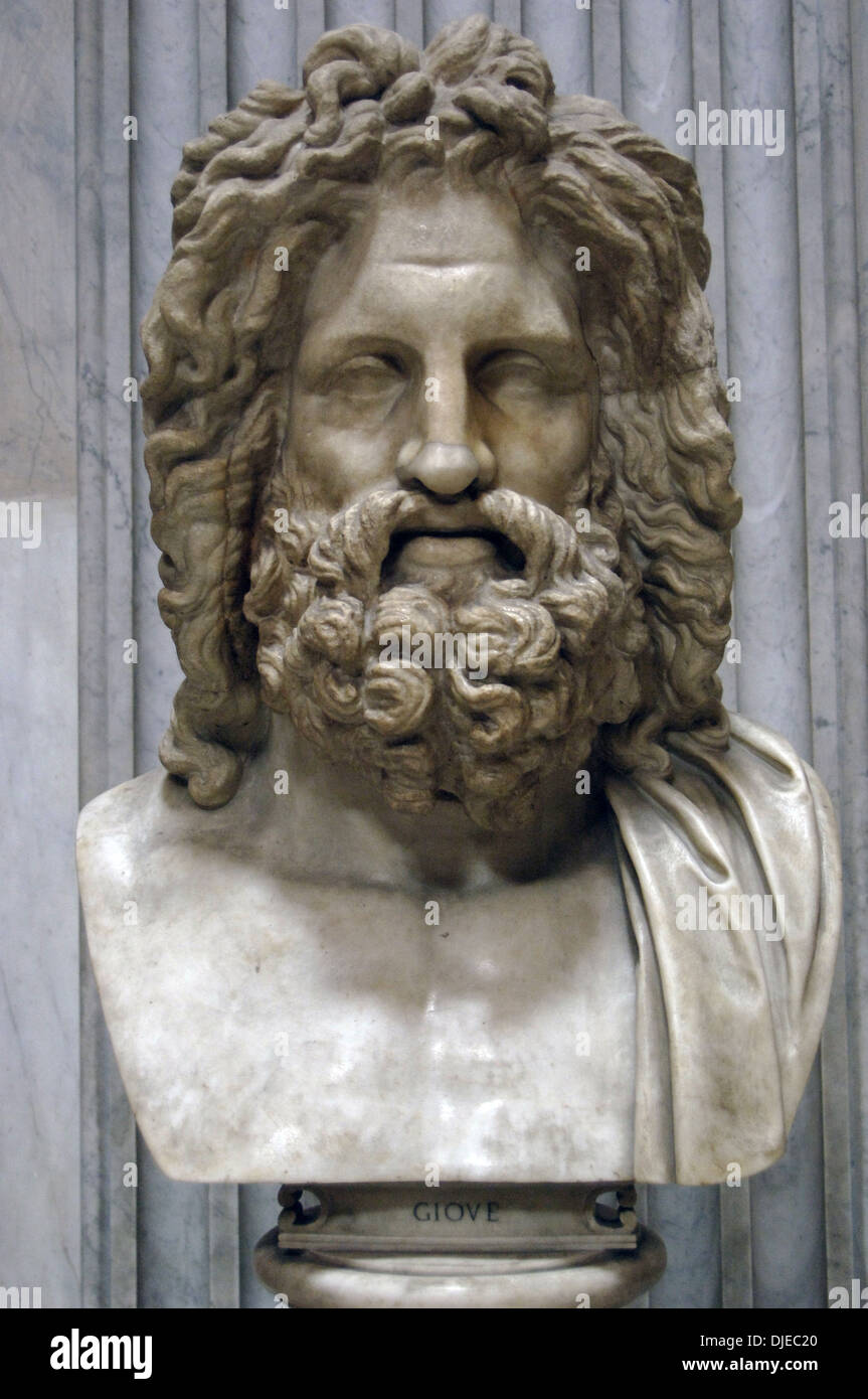 Greek Mythology Zeus Of Otricoli Marble Bust Roman Copy