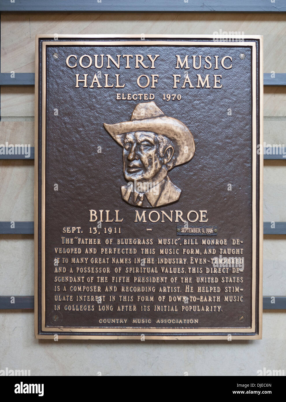 A bronze Bill Monroe Plaque inside the Country Music Hall of Fame in Nashville, TN, USA. Bill was a descendant of 5th president. - Stock Image