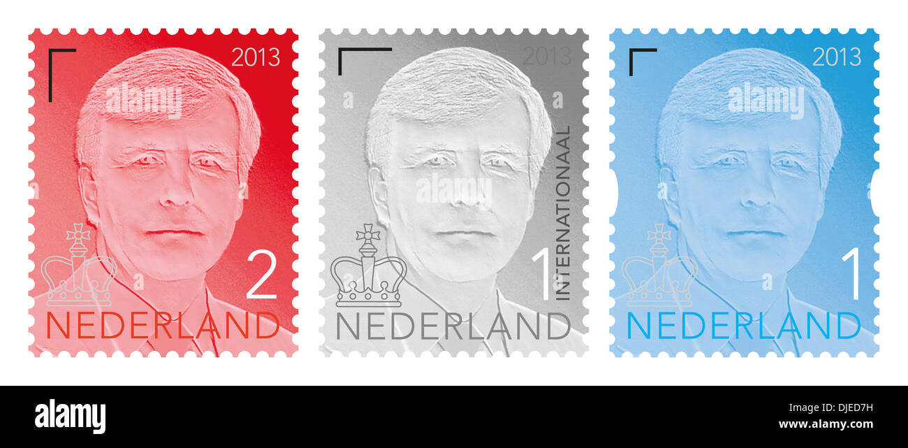 27-11-2013 NETHERLANDS ? The Hague - Dutch King Willem-Alexander received today the 1st copy of the new King stamp at the museum of communication in The Hague. Photo: RPE-Albert Nieboer / - Stock Image