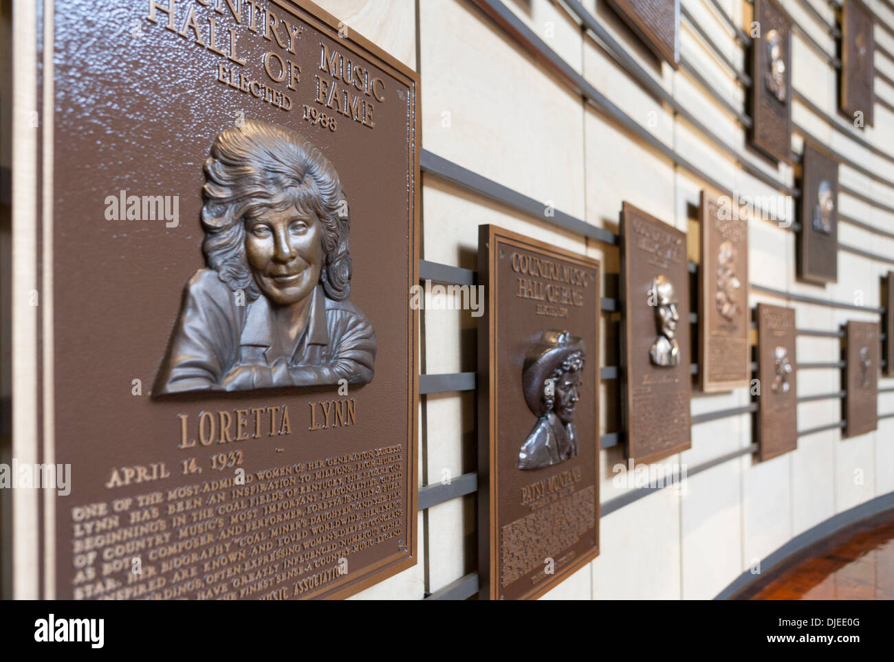 Loretta Lynn plaque among others in the Country Music Hall of Fame in Nashville, TN, USA - Stock Image