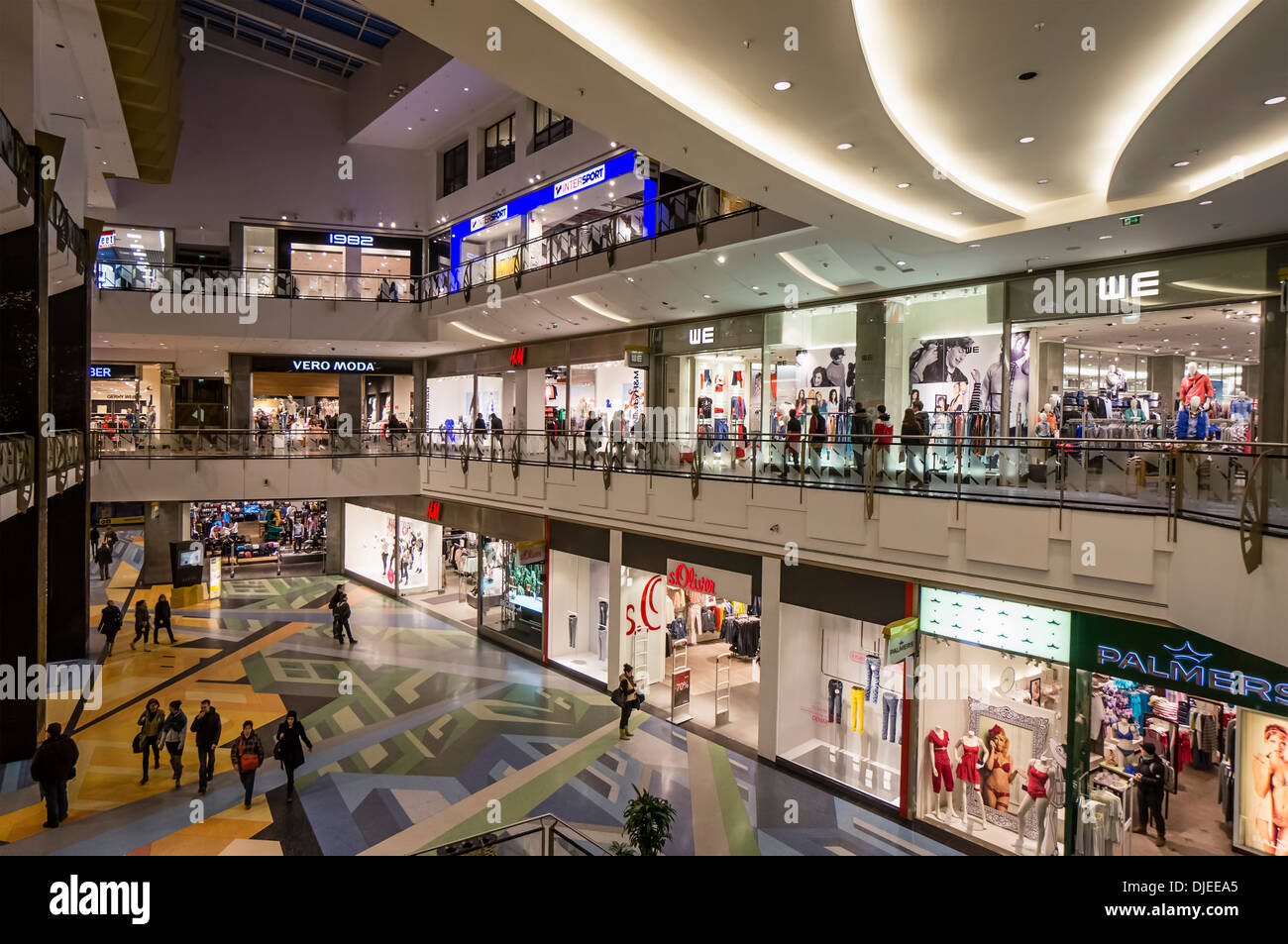 Alexa shopping center, interieur, more than 200 shopa , Berlin - Stock Image
