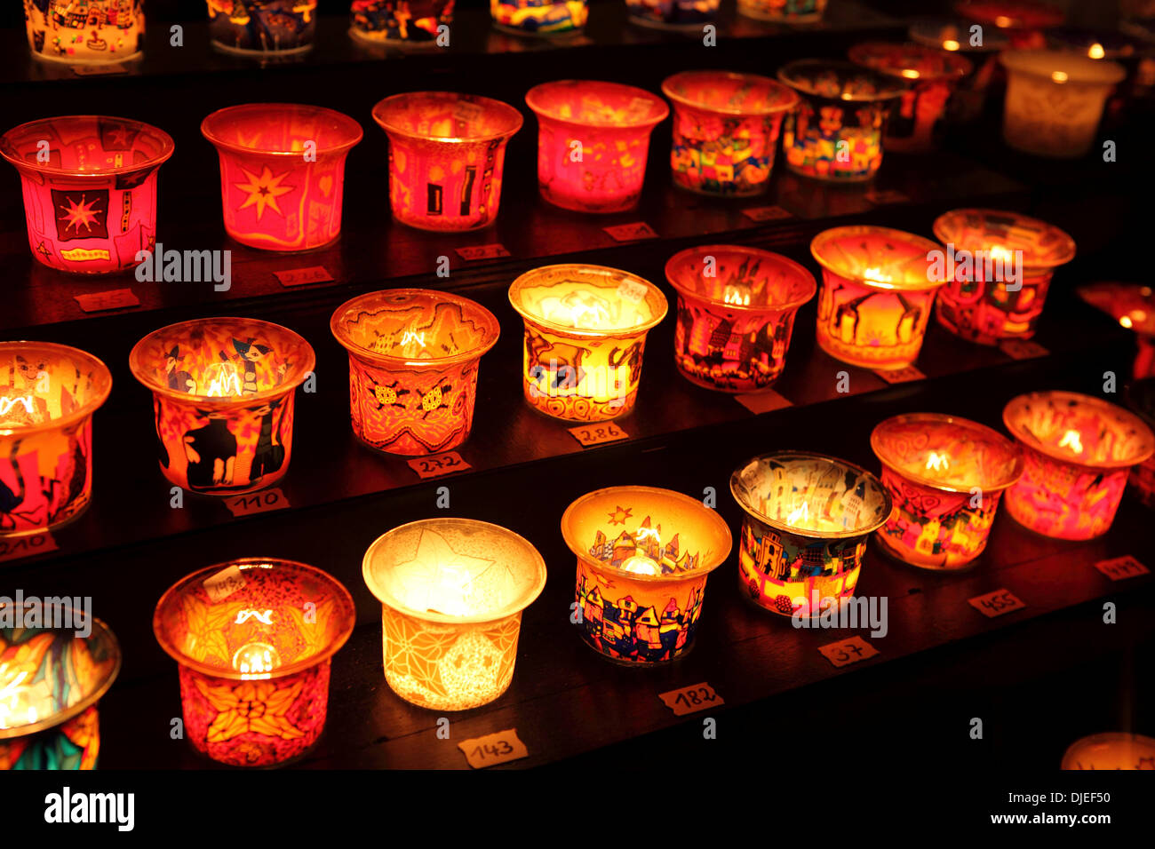 Candle holders on sale at a stall at Roncalli Christmas Market in Hamburg, Germany. The market in front of Hamburg's town hall runs from 25 November until 23 December and sells hand-crafted goods. Credit:  Stuart Forster/Alamy Live News - Stock Image