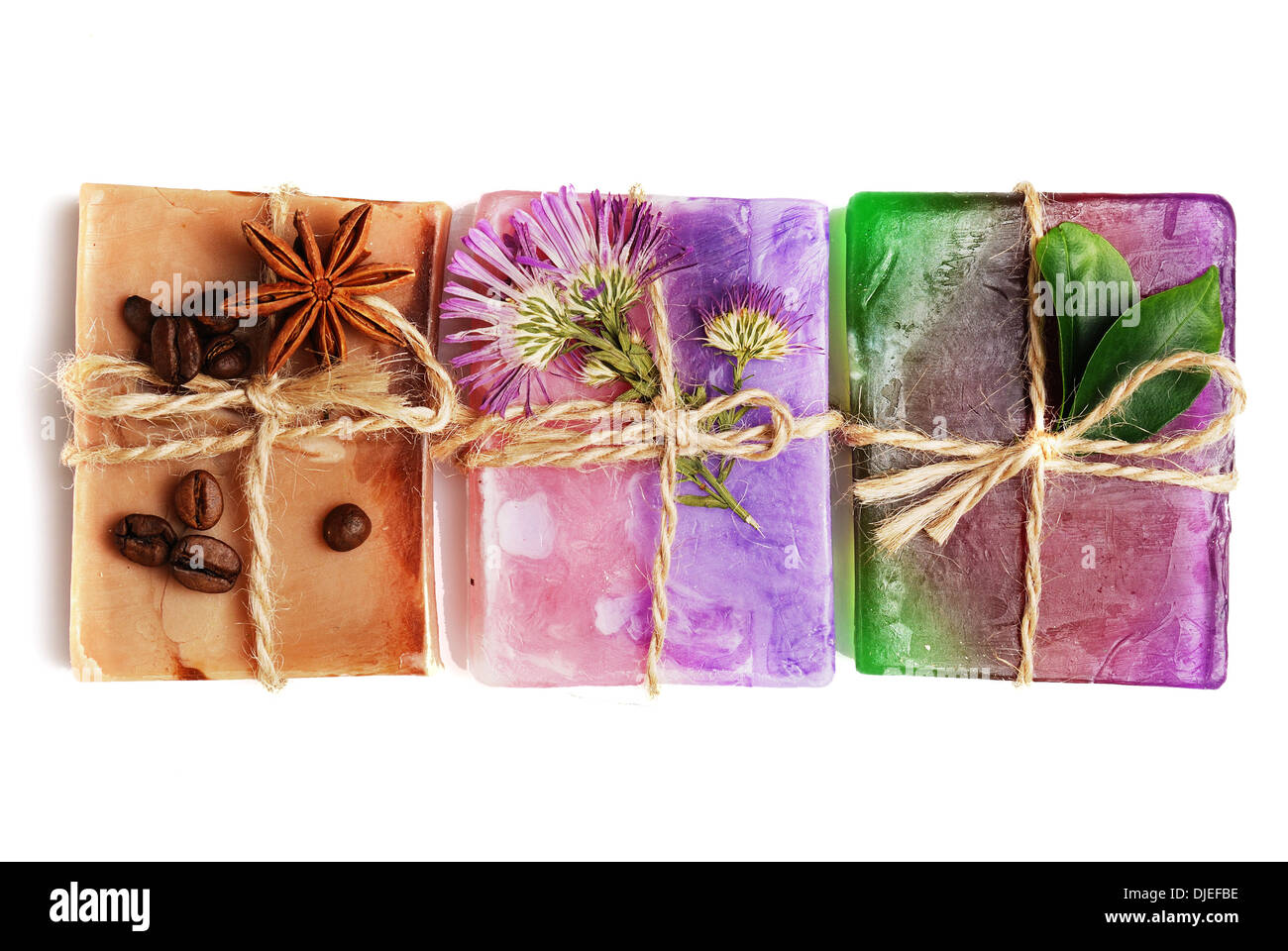 Spa setting with natural soap and sea salt closeup - Stock Image