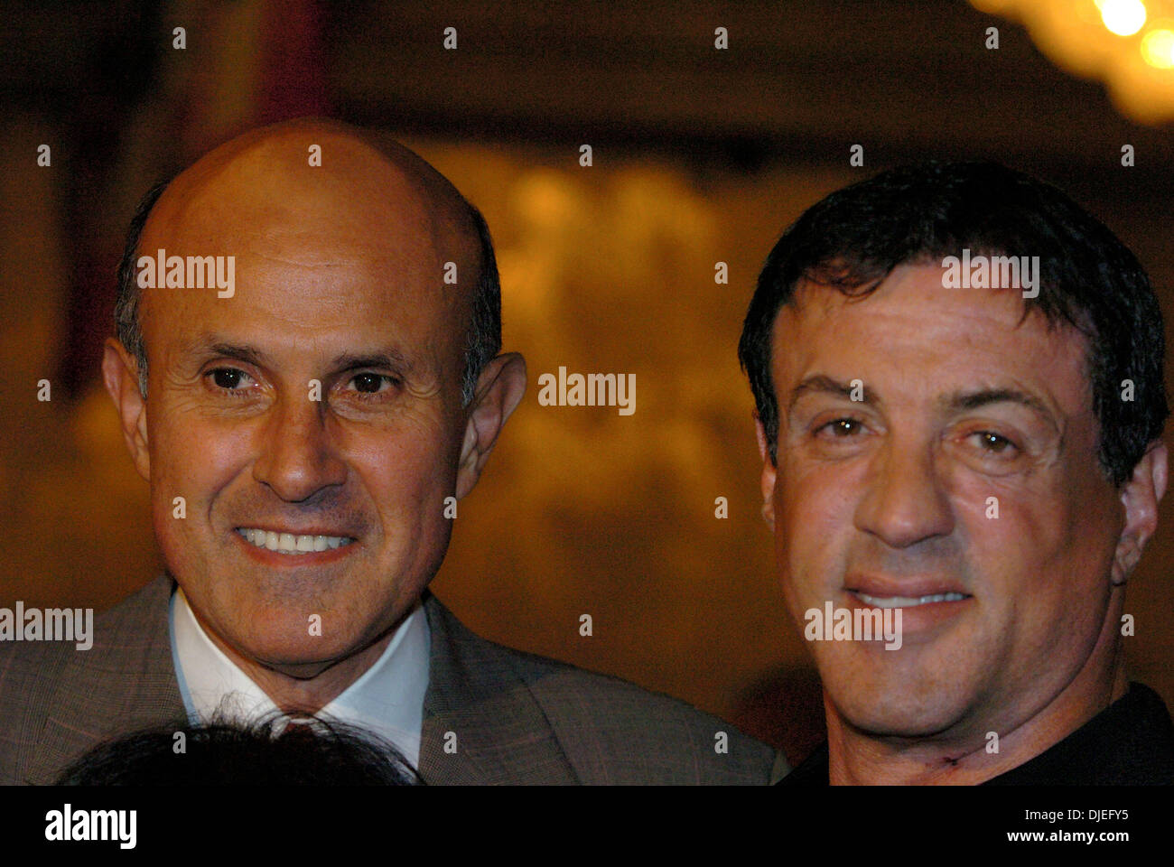 Oct 16, 2004; Commerce, CA, USA; LA County Sherrif LEE BACA shares a laugh with actor SYLVESTER STALLONE at The 25th Annual World Boxing Hall of Fame Banquet held at The Commerce Casino. - Stock Image