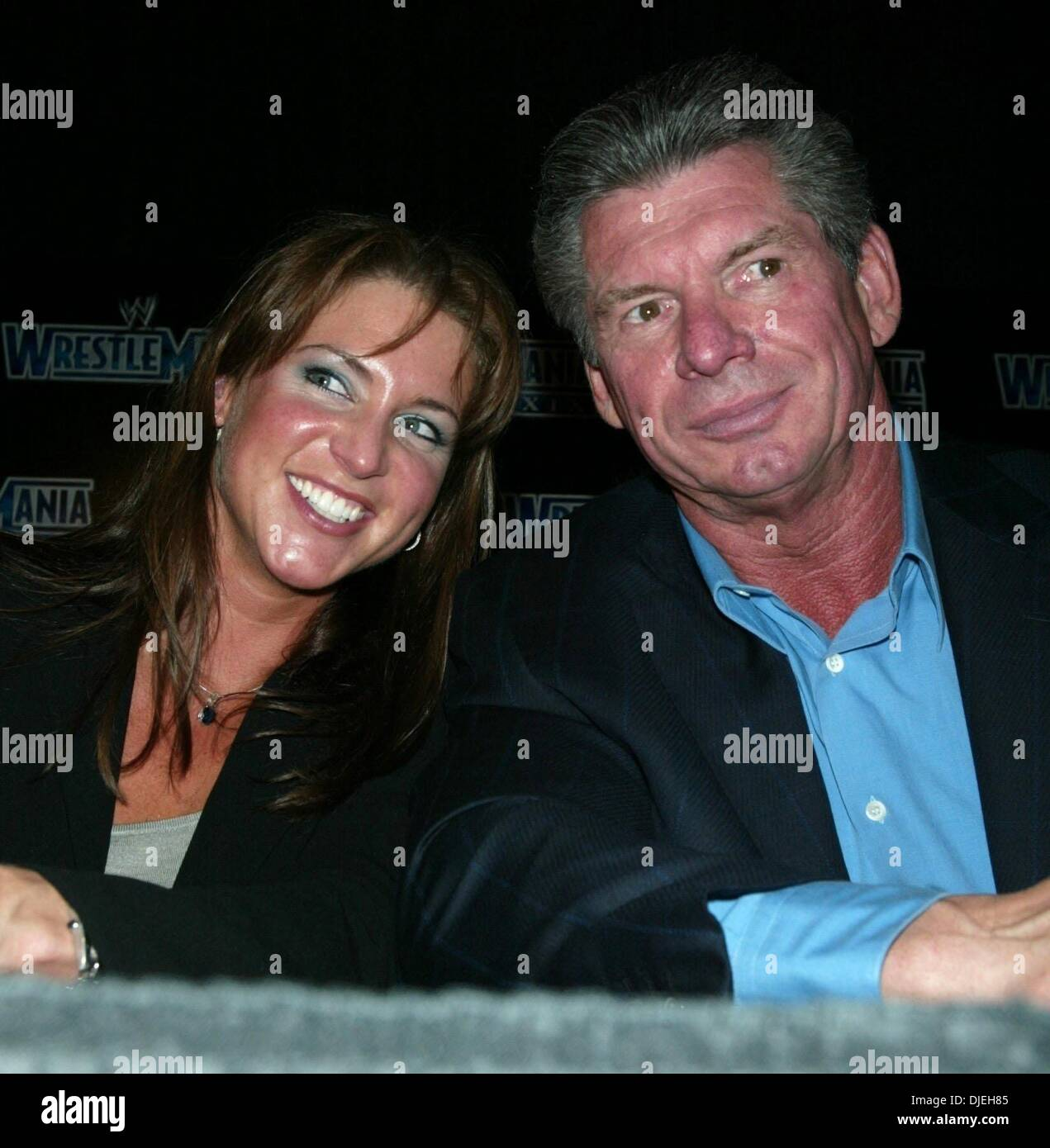 Mar 18, 2003 - New York, New York, USA - STEPHANIE MCMAHON and her father WWE Chairman VINCE MCMAHON at the press - Stock Image