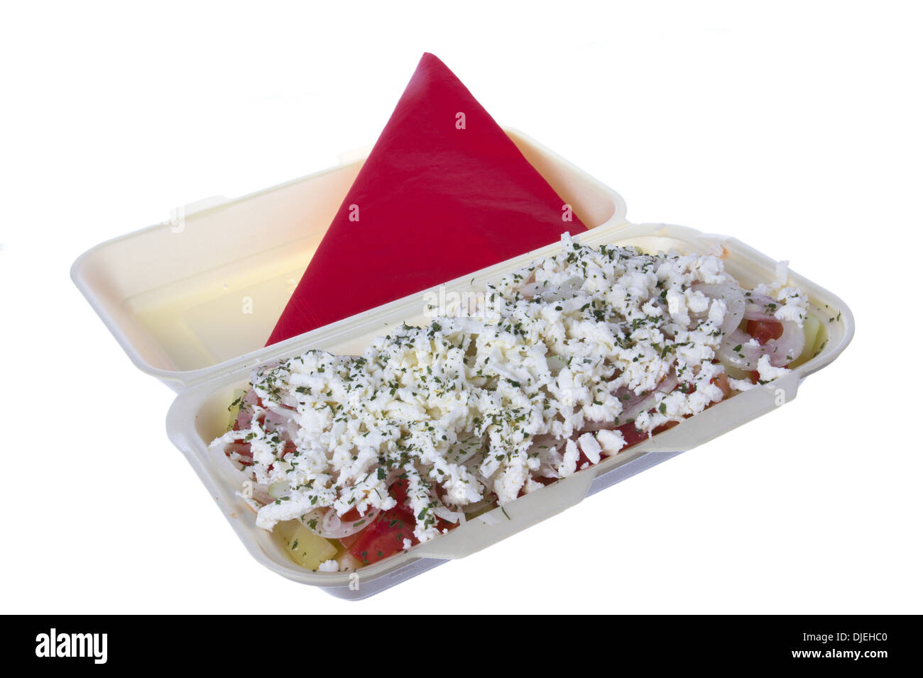 salad to go with cheese, tomato, pepper and parsley - Stock Image