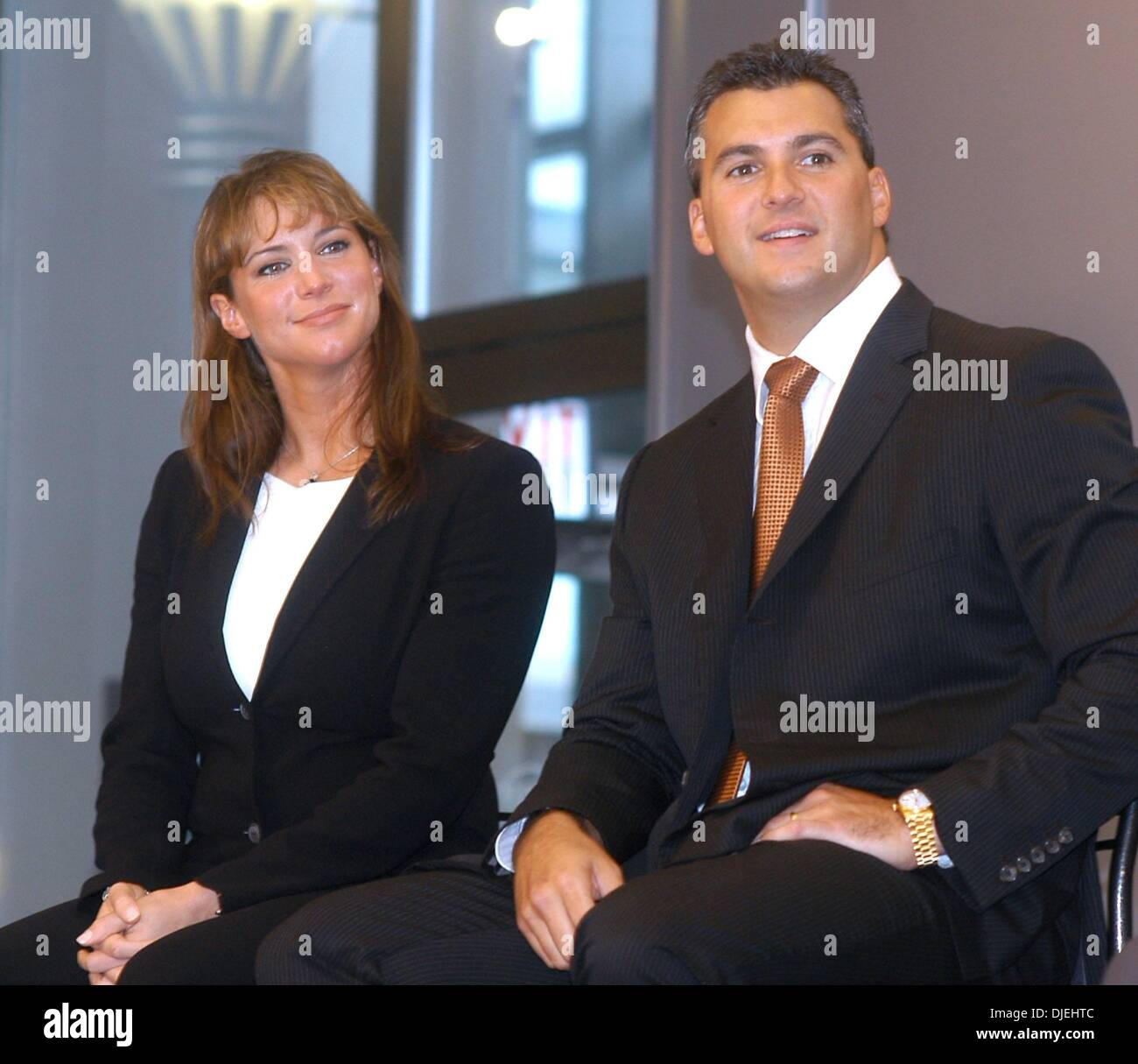 Sep 17, 2003 - New York, New York, USA - STEPHANIE MCMAHON, left, and SHANE MCMAHON, daughter and son of WWE wrestling - Stock Image