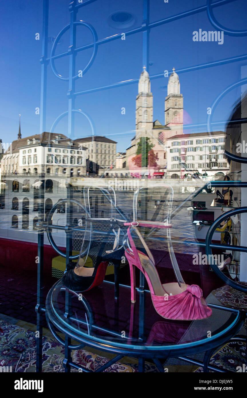 Christian Louboutin shop window, Grossmunster, Zurich, Switzerland - Stock Image
