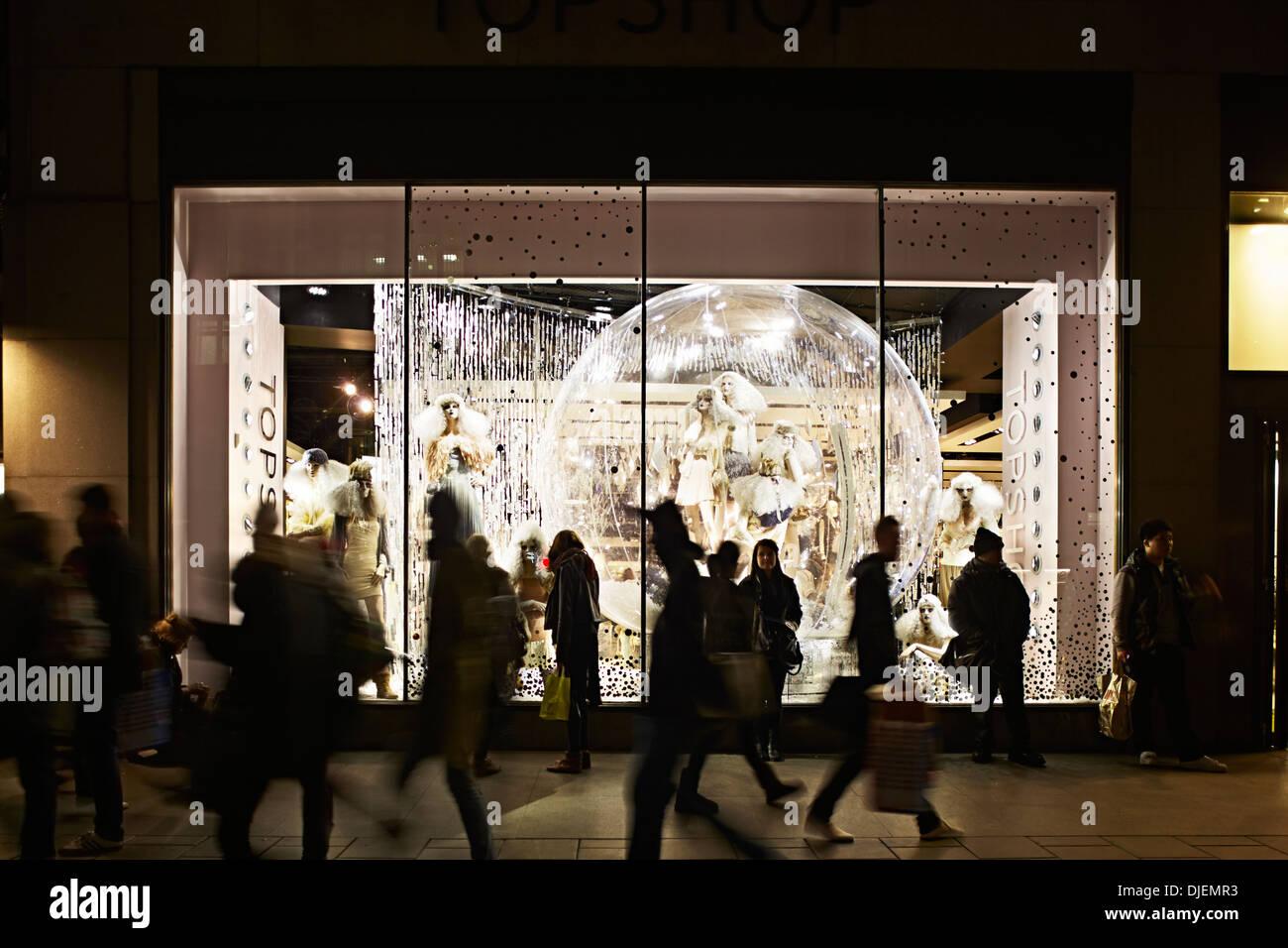 Oxford street Shopping scene, Topshop, London, England, UK,Christmas, Shopping, Winter. Stock Photo