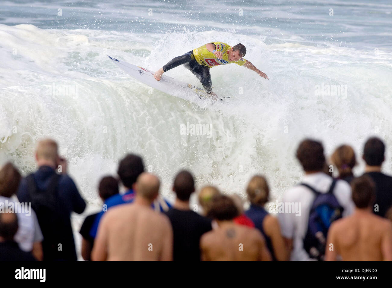 Sep 21, 2007 - La Graviere, Hossegor, France - ROYDEN BRYSON (East London, South Africa) advanced straight to Round Three of the Quiksilver Pro after winning his opening encounter at La Graviere. Bryson posted the 5th highest single wave score of 9.43 (out of a possible 10) for the day to take the heat win from Shaun Cansdell (Aus) and Chris Ward (USA). (Credit Image: © Kelly Cesta - Stock Image
