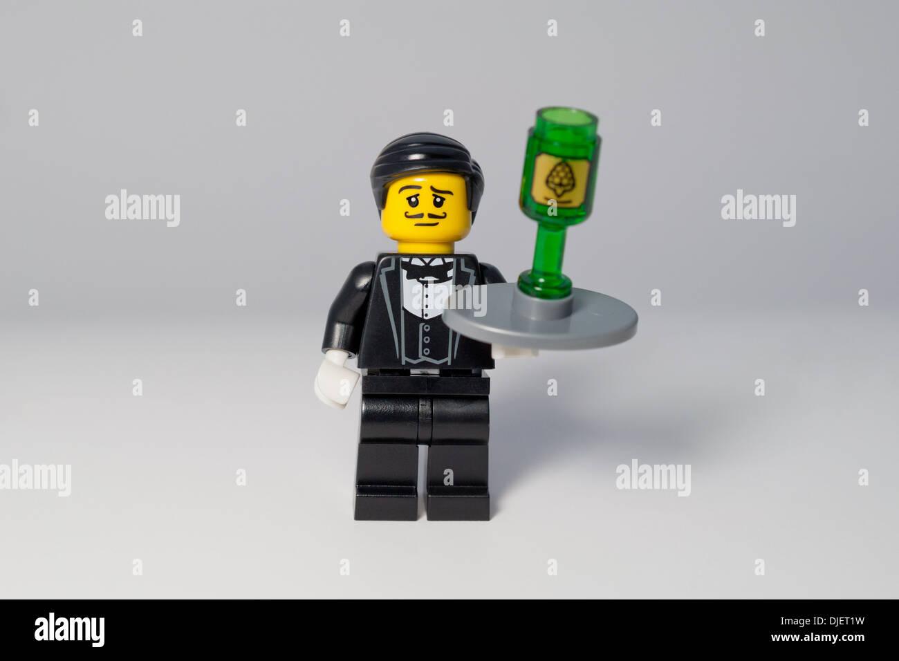 Lego Minifigure of a wine waiter - Stock Image