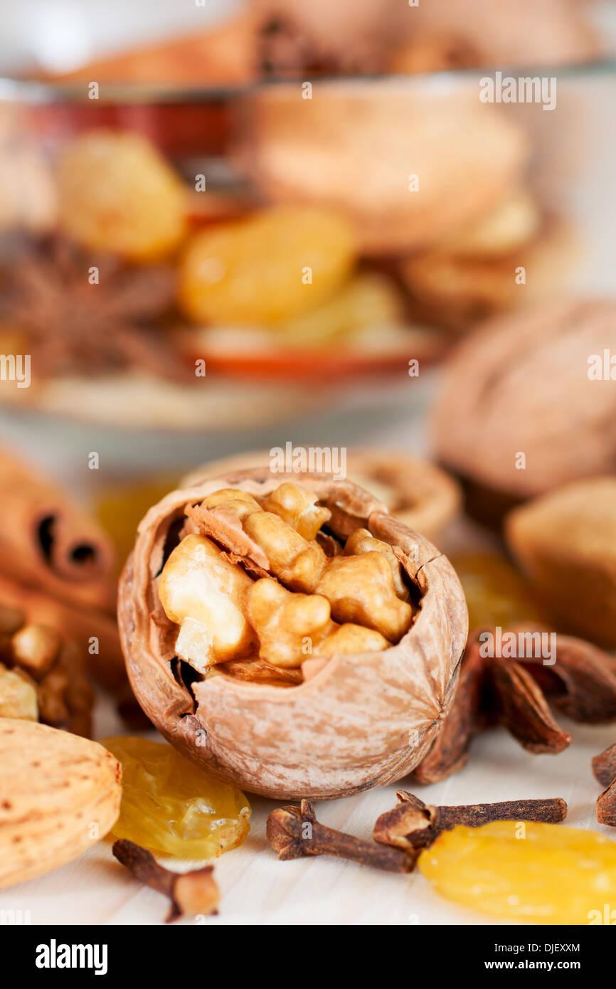 Christmas baking ingredients, spice, nut, raisin Stock Photo