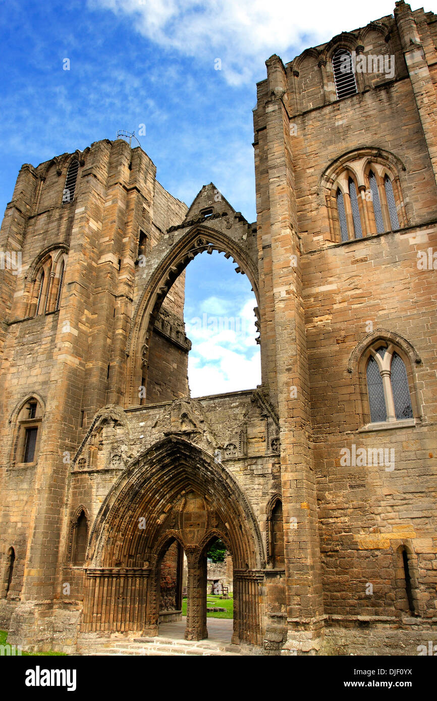 A view of the ruined facade of the medieval Cathedral at Elgin in Morayshire, in the Highlands of Scotland. Stock Photo