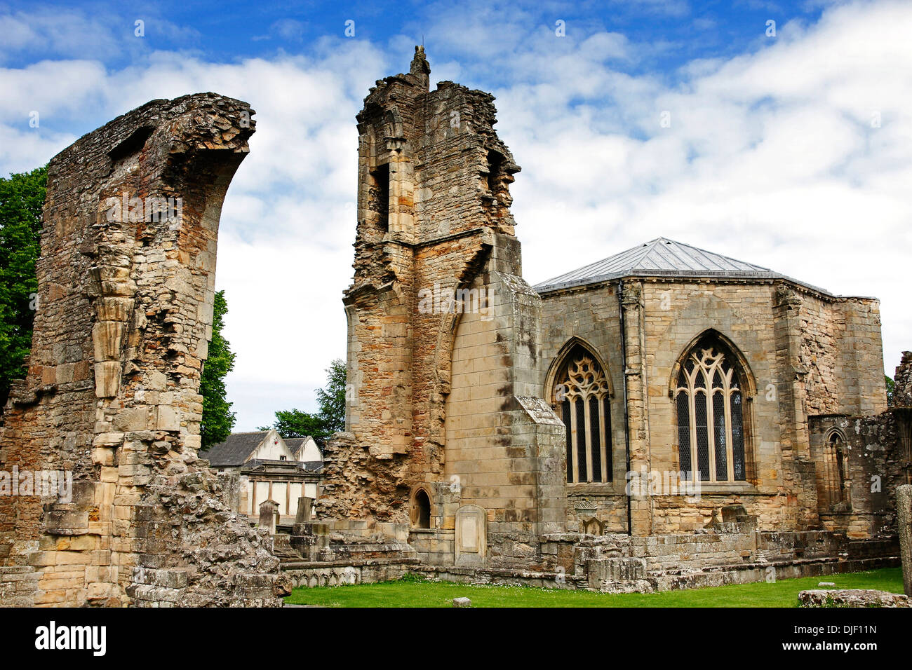 A view of the ruins of the medieval Cathedral at Elgin in the Highlands of Scotland. Stock Photo