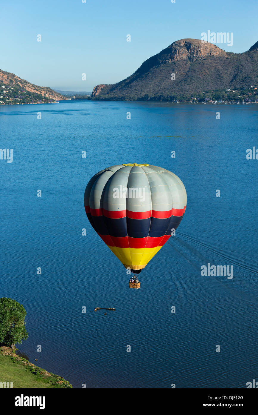 Aerial view of hot air balloon over Hartebeesport dam.South Africa - Stock Image