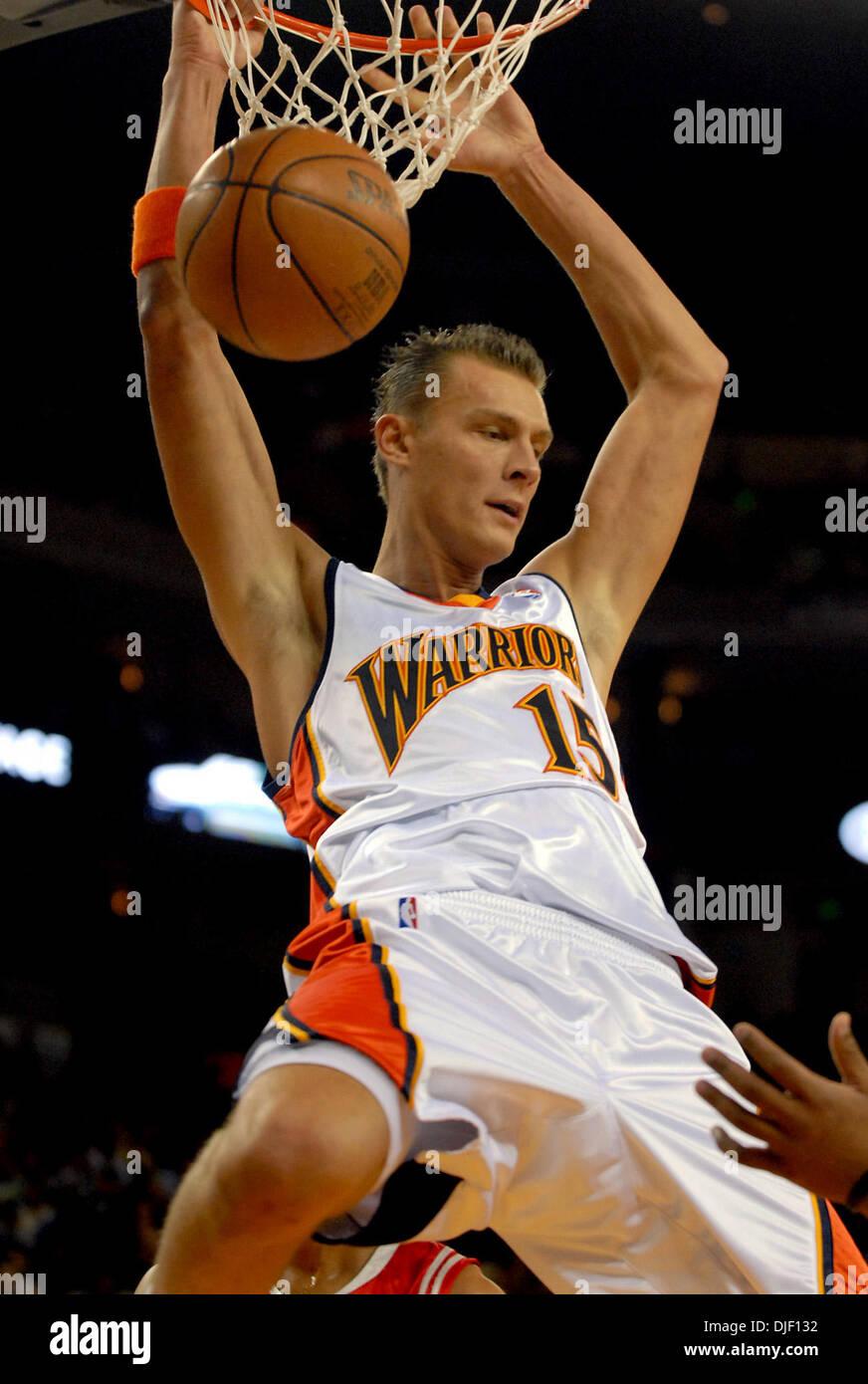 Warriors Center Andris Biedrins Slams A Basket During Their Game Thursday Nov