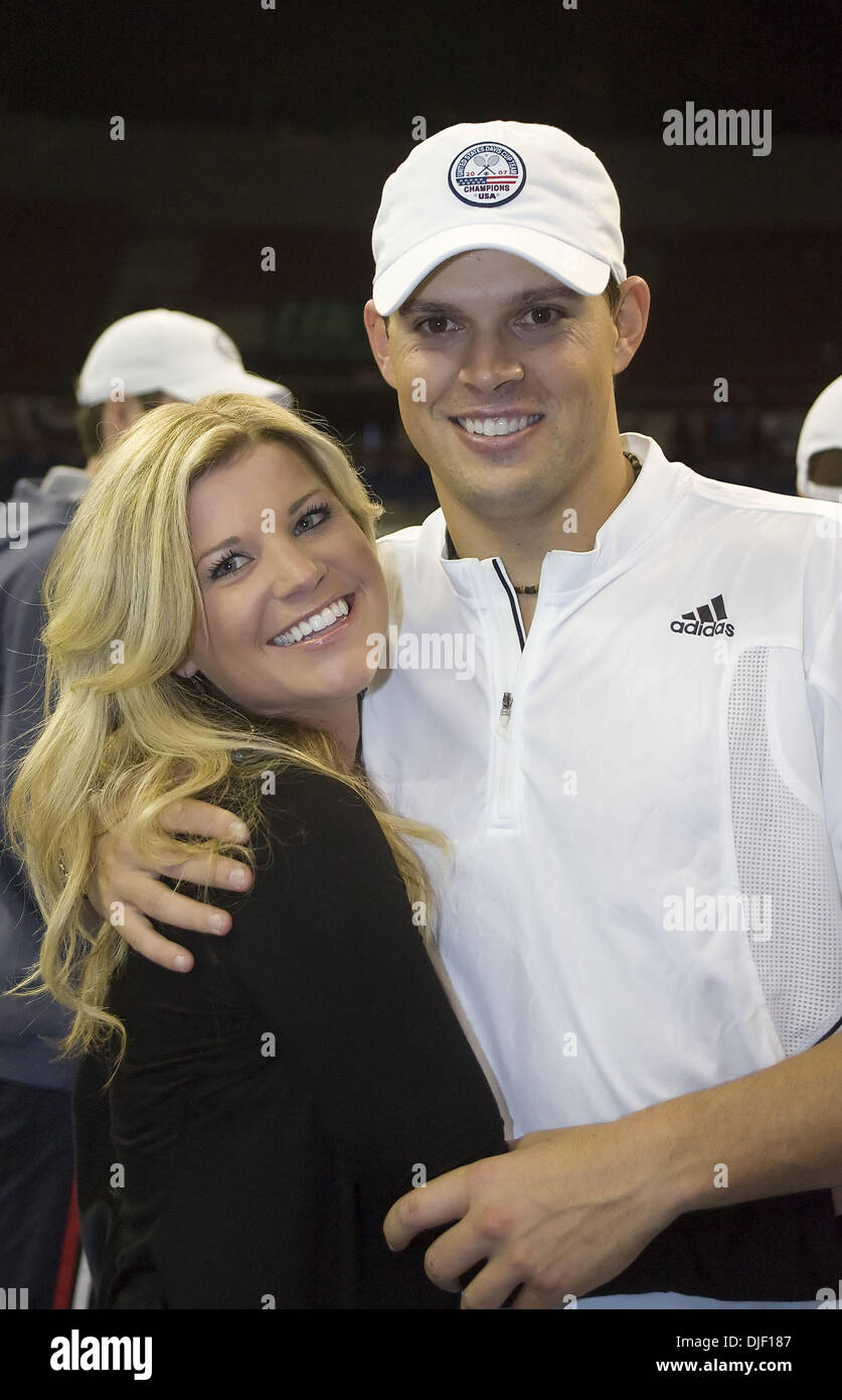 Dec 01, 2007 - Portland, Oregon, USA - BOB BRYAN and girlfriend, SAMANTHA are all smiles after the Bryan brothers secured the USA win for the 2007 Davis Cup. The United States won its first Davis Cup title since 1995 behind a convincing doubles victory Saturday by the Bryan brothers who cruised to a 7-6 (4), 6-4, 6-2 win over Russia's Nikolay Davydenko and Igor Andreev on the indoo Stock Photo
