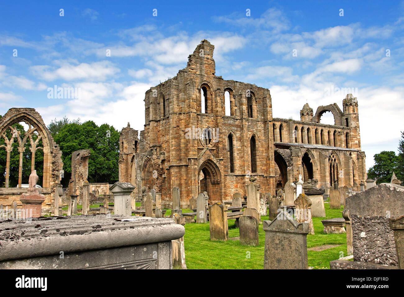 The ruined facade and ancient gravestones of the derelict medieval Cathedral at Elgin in Morayshire, Scotland. Stock Photo