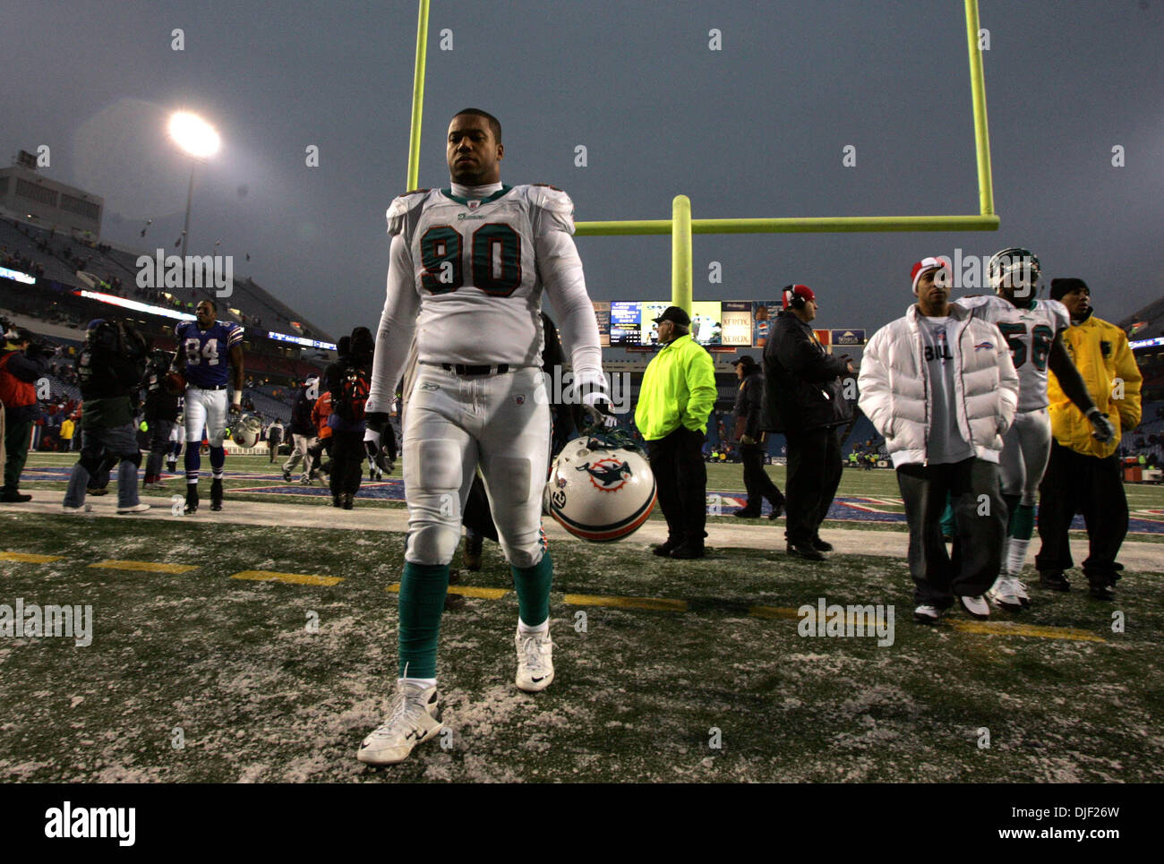 Dec 09, 2007 - Buffalo, New York, USA - Dolphins #90 RODRIQUE WRIGHT leaves the field after 38-17 loss to the Bills. Stock Photo