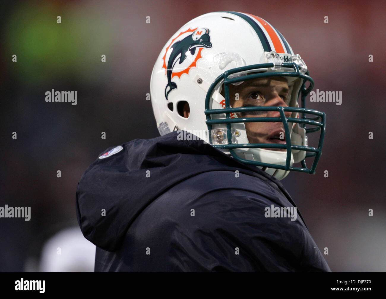 Dec 09, 2007 - Buffalo, New York, USA - Dolphins QB JOHN BECK walks the sidelines aftger being replaced by Cleo Stock Photo