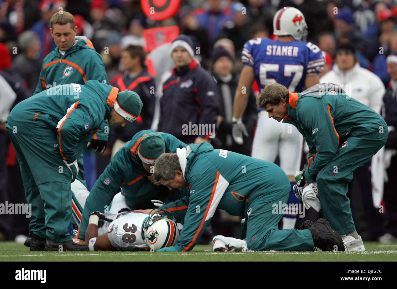 Dec 09, 2007 - Buffalo, New York, USA - Dolphins running back PATRICK COBBS was injured on a special teams play Stock Photo