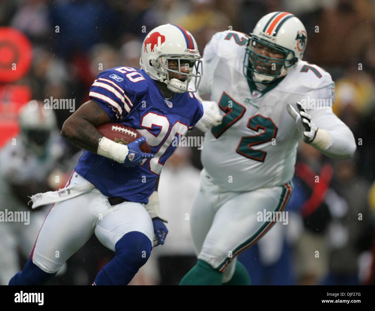 Dec 09, 2007 - Buffalo, New York, USA - Bills #20 DONTE WHITNER returns an interception of a Leo Lemon pass as Dolphins Stock Photo