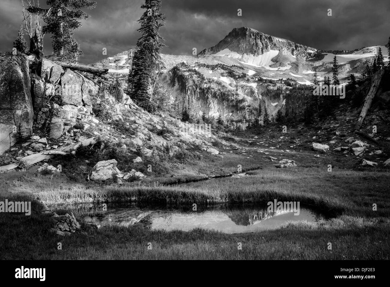 Small pond reflecting Eagle Cap Mountain. Eagle Cap wilderness, Oregon - Stock Image
