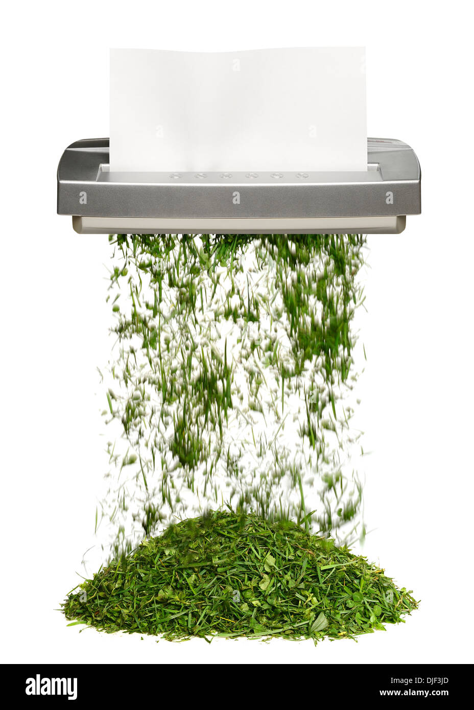 Shredder Turning Paper Into Grass. Green Office Concept. - Stock Image